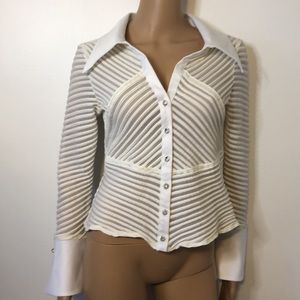 JS Collections Sheer White Top Rhinestone Buttons